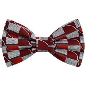Papion roșu bordeaux, imprimeu supradimensionat geometric, butterfly