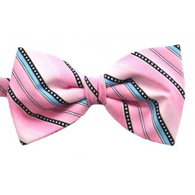 Papion barbati roz cu dungi oblice albe negre si bleu