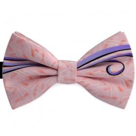 Papion barbati, roz prafuit, imprimeu dungi stilizate delicat