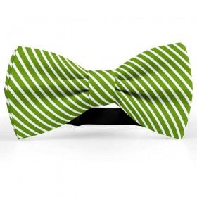 Papion butterfly, verde avocado, imprimeu dungi albe inguste