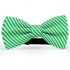 Papion butterfly, verde menta, imprimeu dungi albe inguste