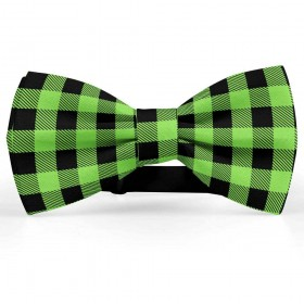 Papion pentru barbati, negru-verde-absint, model carouri