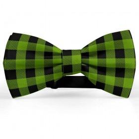 Papion barbati, negru-verde iarba, model carouri