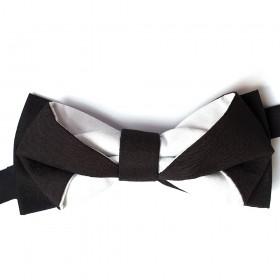 Papion modern, bicolor, negru si alb, model Oddy Shape