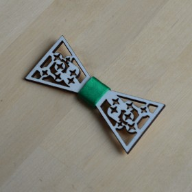 Papion de lemn, personalizat, model Star