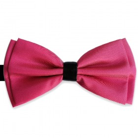 Papion butterfly, roz fuchsia, nod din piele neagra