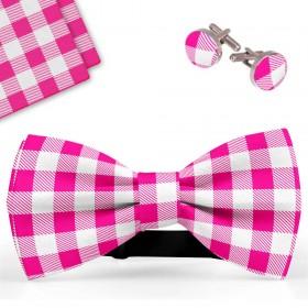 Set papion barbati, batista, butoni, roz-alb, carouri